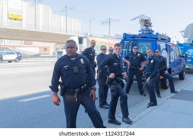 Los Angeles, June 30, 2018: Police Officers  during The Families Belong Together march around the Metropolitan Detention Center