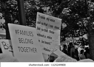 LOS ANGELES - JUNE 30, 2018: As part of a nationwide immigration protest marchers in downtown Los Angeles June 30, 2018.