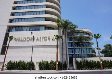 LOS ANGELES, JUNE 3RD, 2017: Low angle shot of the facade of the highly anticipated and newly opened Waldorf Astoria Beverly Hills hotel in Beverly Hills, California.