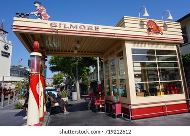 LOS ANGELES, JUNE 3RD, 2017: A replica of a 1950s era Gilmore gas station stands at the Original Farmers Market at Third and Fairfax, near The Grove shopping mall, in Los Angeles, California.