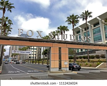LOS ANGELES, JUNE 5, 2018: The entrance to the 20th Century Fox Studios lot on Pico Boulevard and Motor Avenue in Century City, California.