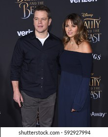 """LOS ANGELES - MAR 02:  Matt Damon and Luciana Barroso arrives for the """"Beauty and the Beast"""" World Premiere on March 2, 2017 in Hollywood, CA"""