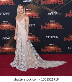 LOS ANGELES - MAR 04:  Brie Larson arrives for the 'Captain Marvel' World Premiere on March 04, 2019 in Hollywood, CA