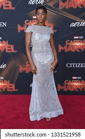 LOS ANGELES - MAR 04:  Lashana Lynch arrives for the 'Captain Marvel' World Premiere on March 04, 2019 in Hollywood, CA