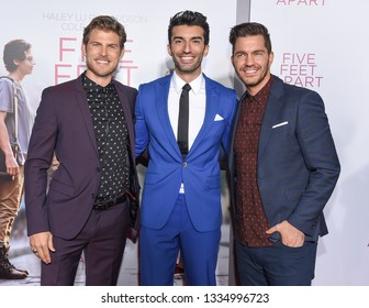 LOS ANGELES - MAR 07:  Travis Van Winkle Justin Baldoni and Andy Grammer arrives for the 'Five Feet Apart' Los Angeles Premiere on March 07, 2019 in Westwood, CA