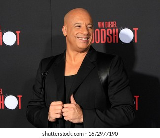 """LOS ANGELES - MAR 10:  Vin Diesel at the """"Bloodshot"""" Premiere at the Village Theater on March 10, 2020 in Westwood, CA"""