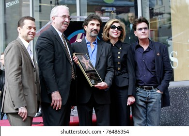 LOS ANGELES - MAR 12: Jon Cryer, Mark Panatier, Chuck Lorre, Christine Baranski, Charlie Sheen as TV Producer Chuck Lorre is honored on the Hollywood Walk of Fame in Los Angeles, CA on March 12, 2009