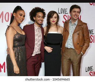 "LOS ANGELES - MAR 13:  Alexandra Shipp, Jorge Lendeborg Jr, Katherine Langford, Nick Robinson at the ""Love, Simon"" Screening at  the Century City Mall Atrium on March 13, 2018 in Century City, CA"