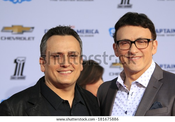 """LOS ANGELES - MAR 13:  Joe Russo, Anthony Russo at the """"Captain America: The Winter Soldier"""" LA Premiere at El Capitan Theater on March 13, 2014 in Los Angeles, CA"""