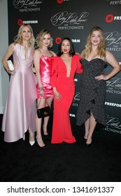 """LOS ANGELES - MAR 15: K Rutherford, Hayley Erin, J Parrish, Sasha Pieterse at the """"Pretty Little Liars: The Perfectionists"""" Premiere at the Hollywood Athletic Club on March 15, 2019 in Los Angeles, CA"""