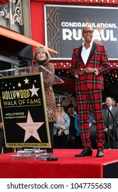 LOS ANGELES - MAR 16:  Jane Fonda, RuPaul Andre Charles at the RuPaul Star Ceremony on the Hollywood Walk of Fame on March 16, 2018 in Los Angeles, CA