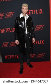 LOS ANGELES - MAR 18:  Machine Gun Kelly arrives for the Netflix 'The Dirt' Premiere on March 18, 2019 in Hollywood, CA