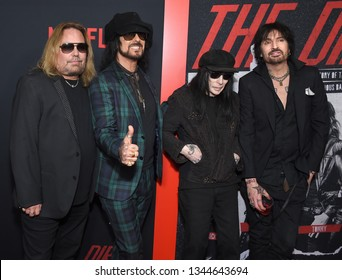 LOS ANGELES - MAR 18:  Motley Crue, Vince Neil, Nikki Sixx, Mick Mars and Tommy Lee arrives for the Netflix 'The Dirt' Premiere on March 18, 2019 in Hollywood, CA
