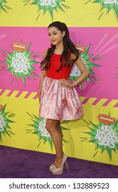 LOS ANGELES - MAR 23:  Ariana Grande arrives at Nickelodeon's 26th Annual Kids' Choice Awards at the USC Galen Center on March 23, 2013 in Los Angeles, CA