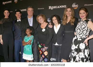 "LOS ANGELES - MAR 23:  Whitney Cummings, Michael Fishman, John Goodman, Jayden Rey, Roseanne Barr, Sara Gilbert, Sarah Chalke, Emma Kenney at the ""Roseanne"" Event at  Disney Studios on March 23, 2018"