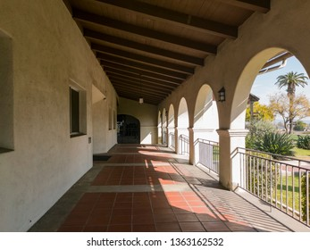 Los Angeles, MAR 26: Exterior view of the San Gabriel Mission church on MAR 26, 2019 at Los Angeles, California
