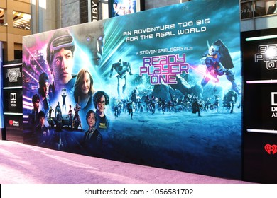 "LOS ANGELES - MAR 26:  Ready Player One Backdrop at the ""Ready Player One"" Premiere at TCL Chinese Theater IMAX on March 26, 2018 in Los Angeles, CA"