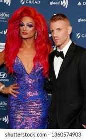 LOS ANGELES - MAR 28:  Rhea Litré, Daniel Newman at the 30th Annual GLAAD Media Awards at the Beverly Hilton Hotel on March 28, 2019 in Los Angeles, CA