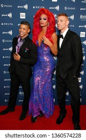 LOS ANGELES - MAR 28:  Wilson Cruz, Rhea Litre?, Daniel Newman at the 30th Annual GLAAD Media Awards at the Beverly Hilton Hotel on March 28, 2019 in Los Angeles, CA