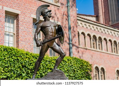 Los Angeles, MAR 29: The famous Trojan statue and Bovard Aministration on MAR 29, 2018 at Los Angeles, California