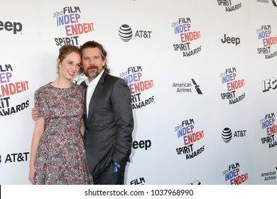 LOS ANGELES - MAR 3:  Ethan Hawke, Maya Hawke_ at the 2018 Film Independent Spirit Awards at the Beach on March 3, 2018 in Santa Monica, CA