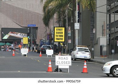 LOS ANGELES - MAR 30: Street closure sign due to a ceremony for a star on the Hollywood Walk of Fame on March 30, 2012 in Los Angeles, CA