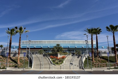 LOS ANGELES - MARCH 17: The main entrance to Dodger Stadium in Los Angeles on March 17, 2014. The stadium has been home to the Dodgers Major League Baseball team since 1962.