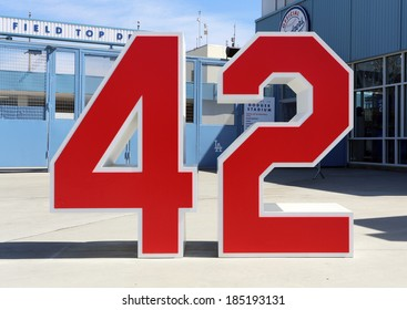 LOS ANGELES - MARCH 17: A monument to Jackie Robinson stands near an entrance to Dodger Stadium in Los Angeles on March 17, 2014. The stadium has been home to the Dodgers MLB team since 1962.