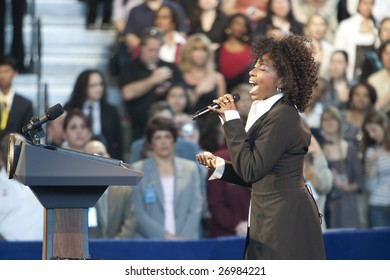 LOS ANGELES - MARCH 19: Amy Keys sings the National Anthem in the Contreras Center for President Barack Obama's town hall meeting on March 19th, 2009 in Los Angeles.