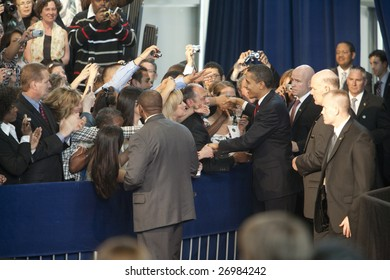 LOS ANGELES - MARCH 19: President Barack Obama greet supporters at the town hall meeting at Contreras Learning Center on March 19th, 2009 in Los Angeles.
