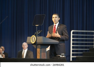 LOS ANGELES - MARCH 19: President Barack Obama speaks at a town hall meeting at the Miguel Contreras Learning Center on March 19th, 2009 in Los Angeles. 1,100 people attended to hear him speak.