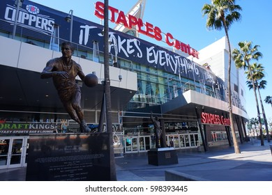 LOS ANGELES, MARCH 1ST, 2017: Jerry West statue on Star Plaza at Staples Center in downtown Los Angeles, which is home to the Lakers, Clippers and Kings sport franchises.