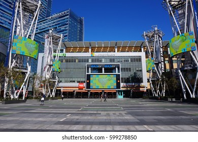 LOS ANGELES, MARCH 1ST, 2017: Wide shot of an empty Microsoft Square (formerly Nokia Plaza) with its giant, colorful television screens, at L.A. Live in downtown Los Angeles, opposite Staples Center.