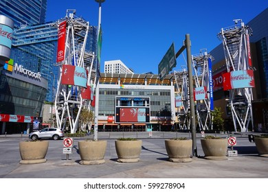 LOS ANGELES, MARCH 1ST, 2017: Wide shot of an empty Microsoft Square (formerly Nokia Plaza) at L.A. Live in downtown Los Angeles, opposite the Staples Center.