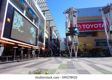 LOS ANGELES, MARCH 1ST, 2017: The jumbotron giant television screen at Microsoft Square (formerly Nokia Plaza) at L.A. Live in downtown Los Angeles, near the Staples Center.