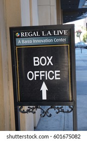 LOS ANGELES, MARCH 1ST, 2017: Close up of box office sign for the Regal L.A. Live movie theaters.