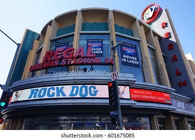 LOS ANGELES, MARCH 1ST, 2017: The marquee of the Regal L.A. Live movie theaters in downtown Los Angeles.