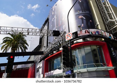 LOS ANGELES, MARCH 1ST, 2018: The image of Oscar host Jimmy Kimmel appears to look down on Hollywood Boulevard as preparations for the 90th Academy Awards are underway.