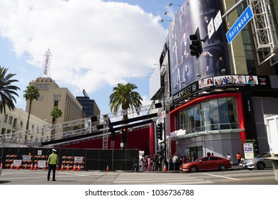 LOS ANGELES, MARCH 1ST, 2018: Cordoned off red carpet area at the Hollywood and Highland intersection as preparations for the 90th Academy Awards, held on March 4th, are underway.