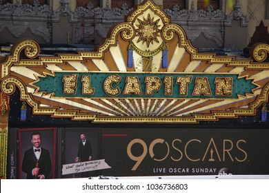 LOS ANGELES, MARCH 1ST, 2018: Close up of the El Capitan Theatre marquee on Hollywood Boulevard, with an ad underneath that advertises the 90th Academy Award ceremony, held on March 4th,