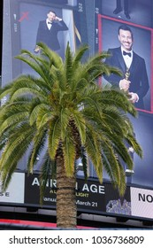 LOS ANGELES, MARCH 1ST, 2018: Oscar host Jimmy Kimmel's image on the facade of the Hollywood and Highland complex, looking over palm tree. The  90th Academy Awards will be held at the Dolby Theatre.