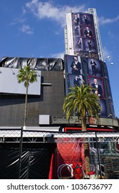 LOS ANGELES, MARCH 1ST,2018: Giant Oscar ad featuring host Jimmy Kimmel, on top of the Hollywood and Highland shopping complex. The 90th Academy Awards ceremony will be held March 4th.