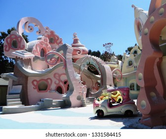 Los Angeles, March 2019 - The Flintstones movie set at Universal Studios Hollywood, famous film studio and theme park in the San Fernando Valley area of Los Angeles, California