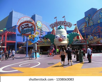 """Los Angeles, March 2019 - """"Krustyland The Simpsons Ride"""" , the Simpsons' attraction at Universal Studios Hollywood, famous theme park in Los Angeles, California"""