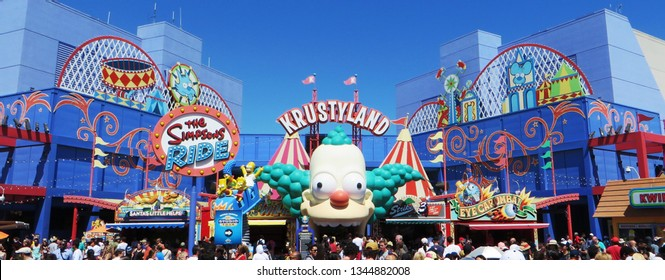 "Los Angeles, March 2019 - ""Krustyland The Simpsons Ride"" , the Simpsons' attraction at Universal Studios Hollywood, famous theme park in Los Angeles, California"
