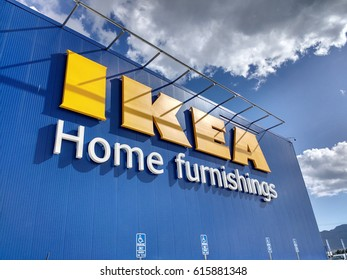 LOS ANGELES, MARCH 22ND, 2017: Close up of the facade against a blue sky with clouds of the new, 456000-square-foot IKEA home furnishings store in Burbank, California, which opened in February.