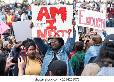 LOS ANGELES - MARCH 24, 2018: March For Our Lives is a movement dedicated to student-led activism around ending gun violence and the epidemic of mass shootings in schools today. Los Angeles, CA.