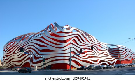 LOS ANGELES - MARCH 28, 2018: The Petersen Automotive Museum is located on Wilshire Boulevard along Museum Row in the Miracle Mile neighborhood of Los Angeles.