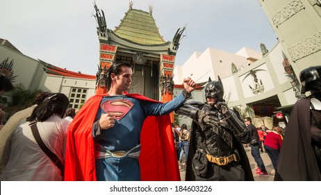LOS ANGELES - MARCH 29: TCL Batman V Superman at Chinese Theatre in Los Angeles. TCL Chinese Theatre is a cinema on the historic Hollywood Walk of Fame at 6925 Hollywood Boulevard in Hollywood.