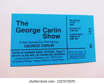 """Los Angeles - March 3, 2019: Audience ticket to """"The George Carlin Show"""" on April 7, 1994."""